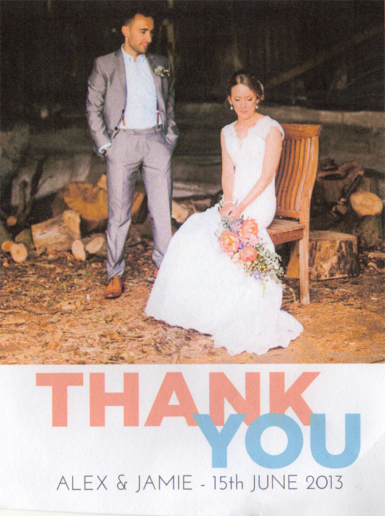 Jamie & Alex thank you card