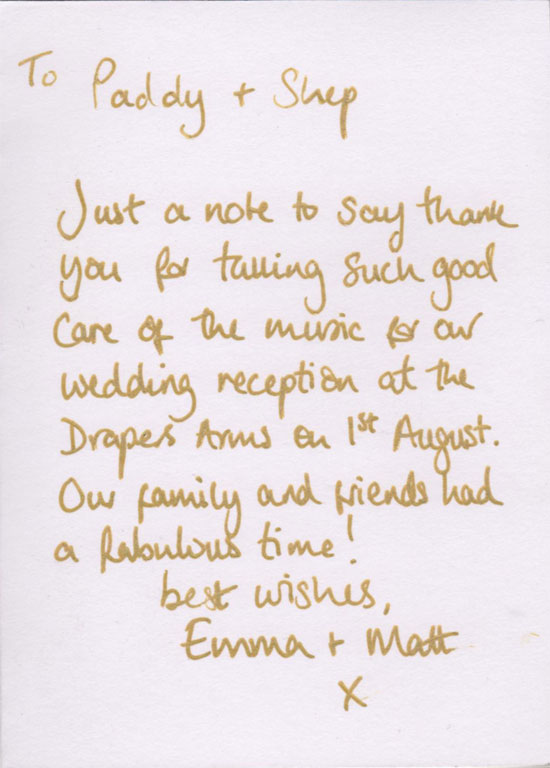 Emma & Matt thank you card back