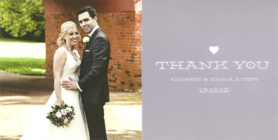 Andy & Emma thank you card front
