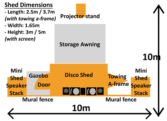 Disco Shed footprint and dimensions