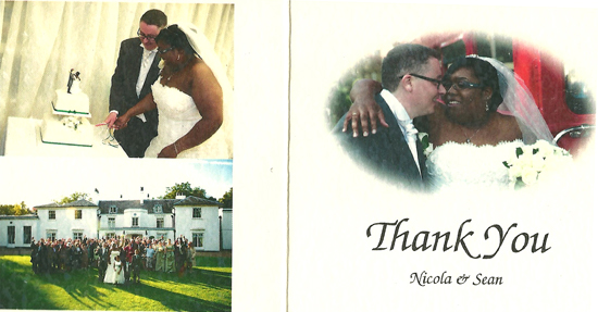 Nicky & Sean thank you card front