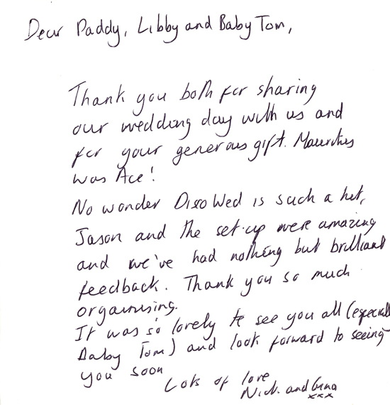 Dear Paddy, No wonder Disco Wed is such a hit, Jason and the set-up were amazing and we've had nothing but brilliant feedback. Thank you so much for organising. Lots of love, Nick & Gina x