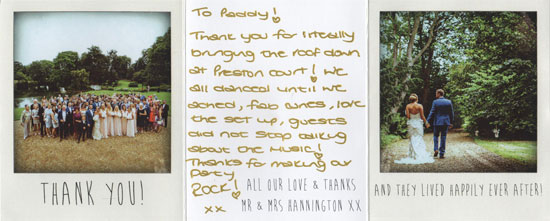 Claire & Tom thank you card