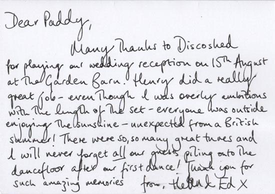 Helen & Ed thank you card back